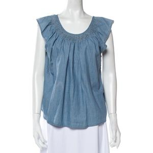 THE GREAT. Smocked neck flutter chambray top 2/M